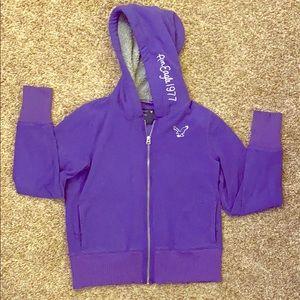 American Eagle Purple Fleece Zip Up Hoodie